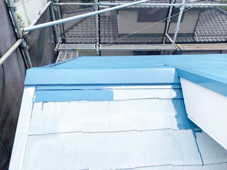 高座郡寒川町宮山S様邸屋根塗装工事中塗り工程さむかわ塗装